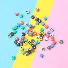 Акриловые Кубики, 50 шт., 6 цветов, цифровой декор для напитков, круглые угловые кости, игральные кости для вечеринок, инструменты для развлече...