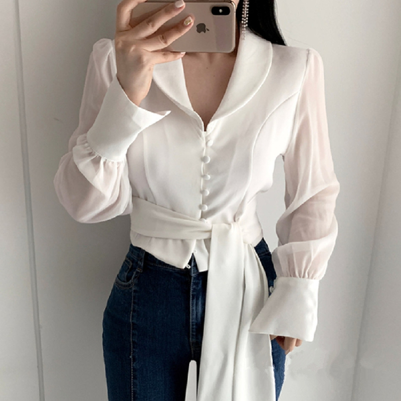 Fashion Mesh Spliced Shirt Women Long Sleeve Slim Tops Chic sexy perspective splicing high stree Blouse Shirts