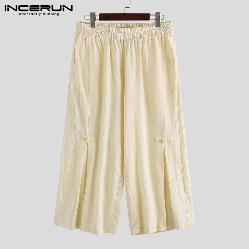 Men Cotton Linen Cropped Cross Pants Summer Male Casual Wide-Legged Bloomer Waist Rope Straight Calf-Length Trousers 5XL INCERUN