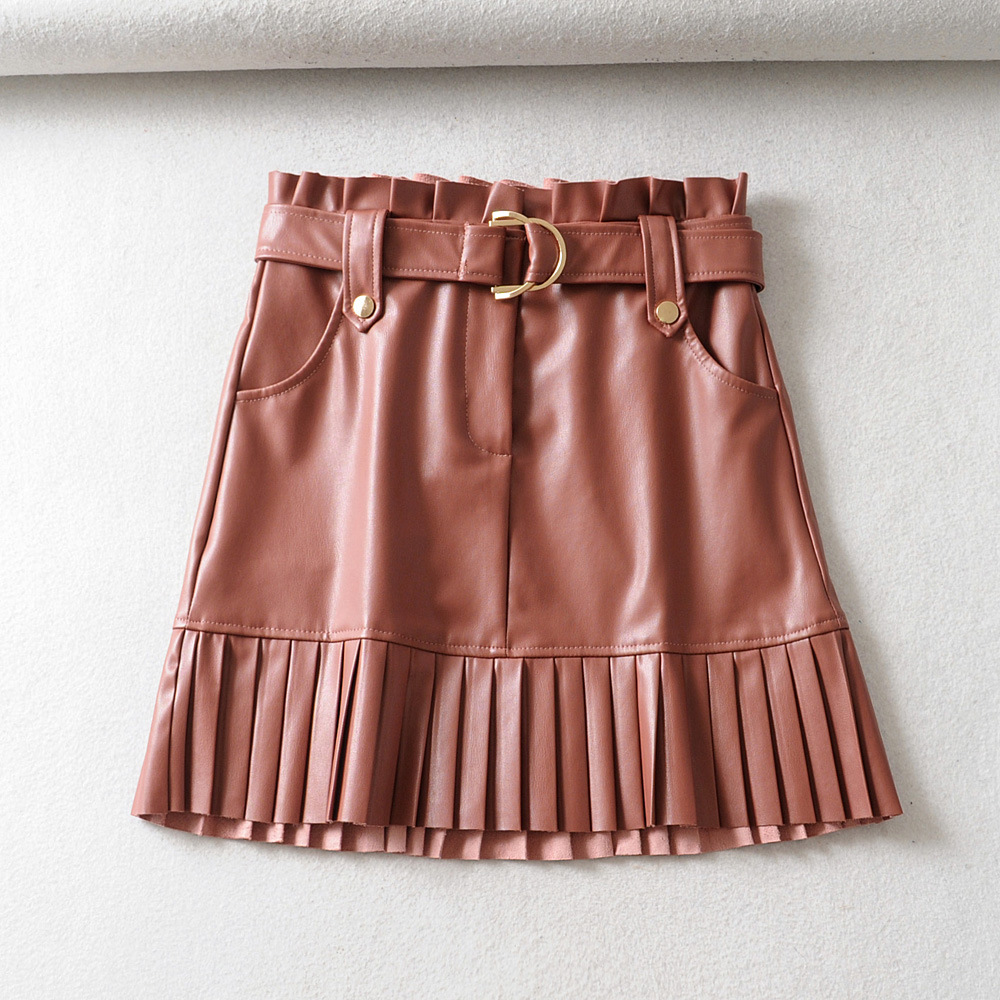 Fashion Casual Womens Faux Leather Skirts High Waist Buckle Brown PU Leather Skirts Office Lady Zoravicky Vintage Pleated Skirts