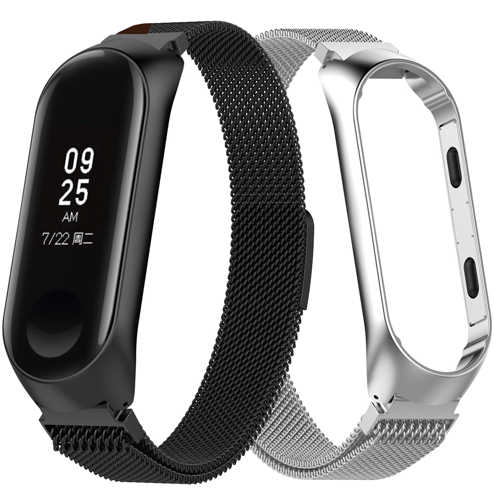 Fashion Magnet Strap For Xiaomi Mi Band 3 4 Stainless Steel Watch Band For Xiaomi Wristband Replacement Metal Bracelet Miband 4