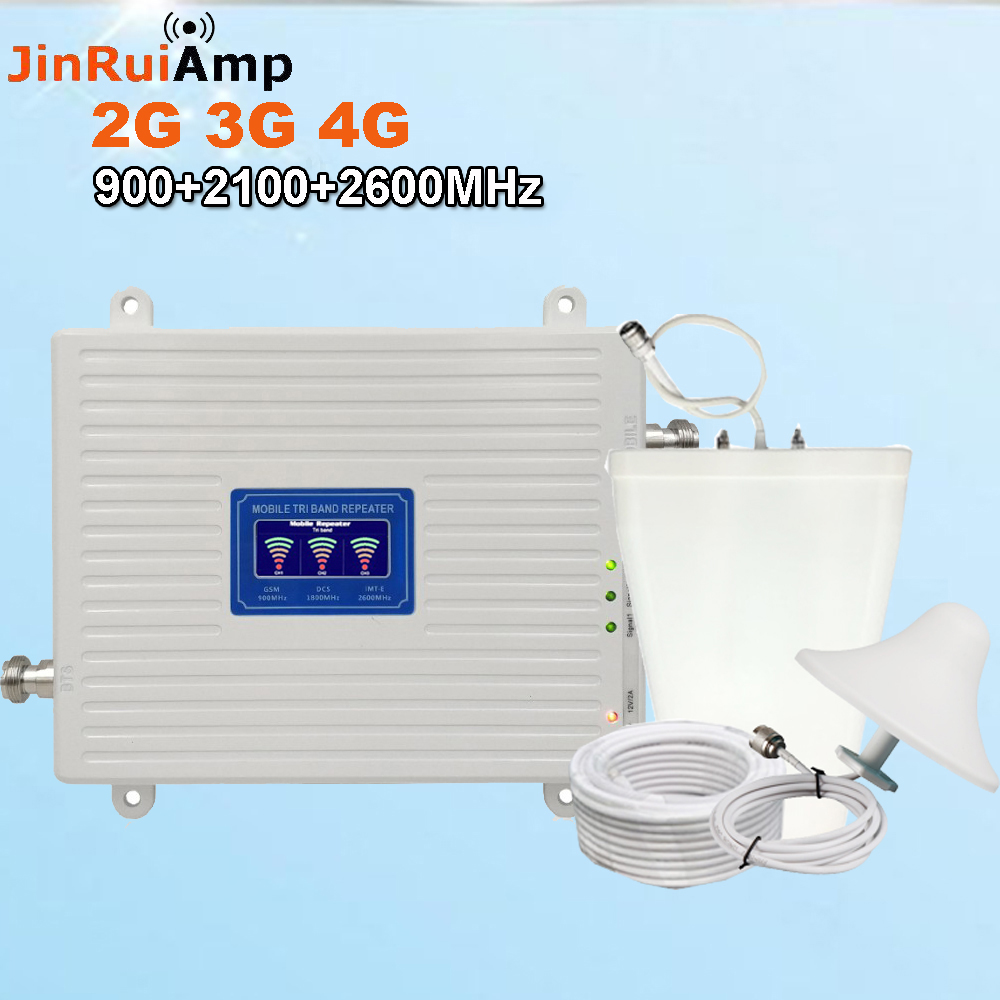 2G 3G 4G Tri Band Repeater GSM 900 UMTS WCDMA 2100+FDD LTE 2600 Cellular Signal Booster 900 2100 2600 Mobile Signal Amplifier