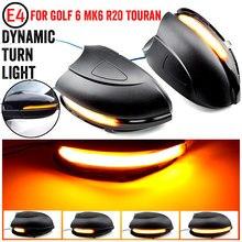 Para vw golf 6 mk6 gti r32 08-14 touran led dinâmico turn signal luz lateral asa espelho retrovisor lâmpada indicadora com escudo inferior