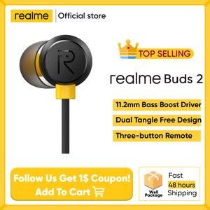 Realme бутоны 2 черный wired-3.5mm наушники 3-кнопочный пульт дистанционного управления с микрофоном Встроенная магниты не допускает перехлестыван...