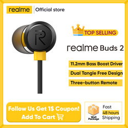 realme Buds 2 Black wired-3.5mm earphones 3-Button Remote with Mic Built-in Magnets Tangle-Free Android phone realme 6 pro