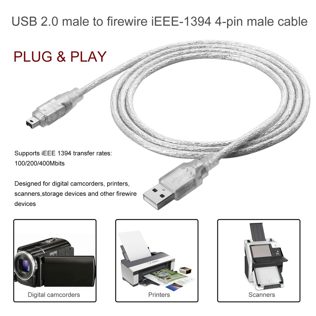 1.2m USB 2.0 Male To Firewire IEEE 1394 4 Pin Male ILink Adapter Cable Male To Male Cable Light White Flexible Cable Dropshiping