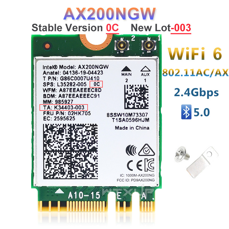 NGFF Wireless adapter AX200NGW For Intel wifi 6 AX200 2400Mbps network card 2.4G/5Ghz 802.11ac/ax Wi-fi Bluetooth 5.0 MU-MIMO(China)