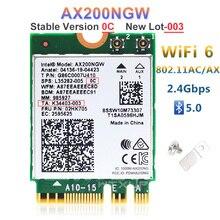 NGFF carte réseau Wi fi 2400/5Ghz, 2.4/802 Ghz, 5.0 mb/s, adaptateur sans fil AX200NGW, Bluetooth MU MIMO, pour Intel 6 AX200