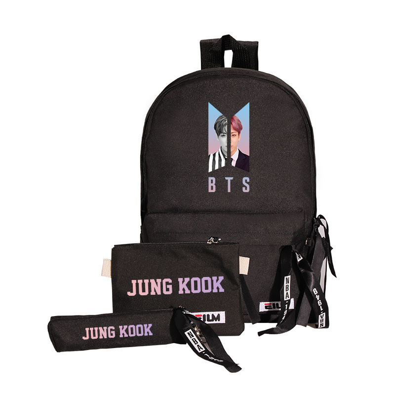 BTS Related Products School Bag Bulletproof Boys Canvas Bag Backpack Shoulder Bag Pencil Case Three-piece Set Students Different