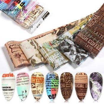 10 sztuk/1 Pc folie do paznokci zestaw gazety litery naklejka do transferu na paznokcie papier Adehesive okłady paznokci dekoracje artystyczne DIY manicure