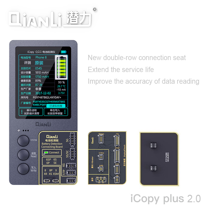 Newest Qianli ICopy Plus 2.0 LCD Screen Photometer For  7 8 8P X XR XS Max Original Color Vibration Battery Repair Programmer
