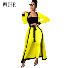 WUHE Elegant Three Pieces Sets Women Wrap Chest Top+ Skinny Pants + Long Coat with Belt for Female Stylish Hollow Out Playsuits stylish rhinestoned bow hollow out bracelet for women