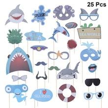 Photo-Props Dress-Up-Decoration Birthday-Party-Favors Funny DIY 25pcs Shark-Theme Marine