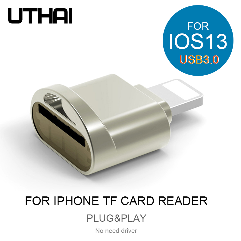 UTHAI C60 For IPhone TF Card Reader USB3.0 Plug&Play Lightning To MicroSD Adapter No Need Driver For Iphone 7 8 X 11 IOS13