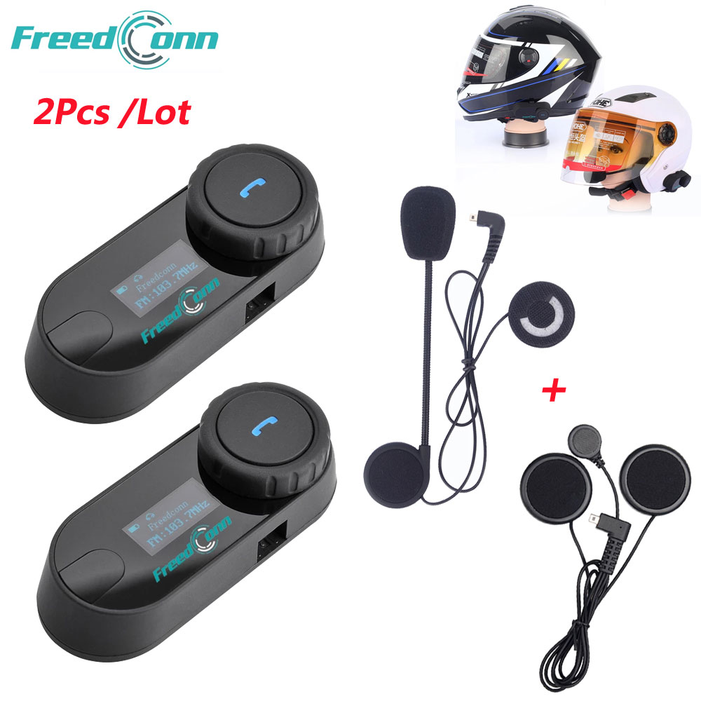 Freedconn TCOM SC Headset Intercom Interphone Wireless Helmet Bt Bluetooth 800M 2 FM