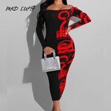 Женское облегающее платье миди с открытыми плечами, длинными рукавами и вырезом лодочкой, элегантное вечернее платье с принтомПлатья    АлиЭкспресс