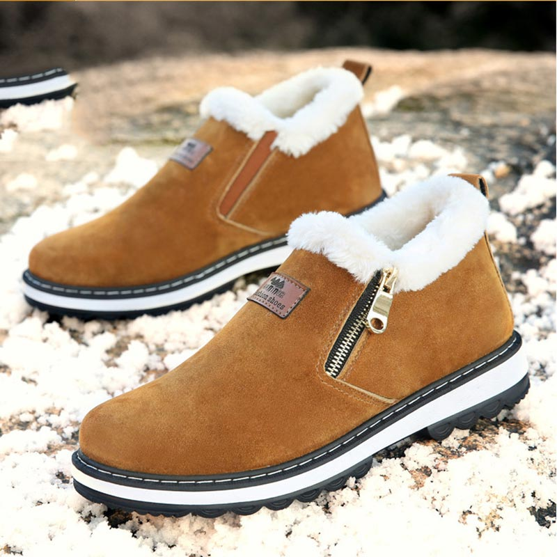Ankle Boots Men Shoes 2019 New Fashion Solid Velvet Winter Boots Men Sneakers Casual Shoes Men Boots Zipper Round Toe Shoes Men