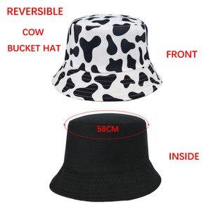 FOXMOTHER Новая мода Реверсивный Черный Белый корова шаблон ведро шапки для рыбаков для женщин Gorras лето