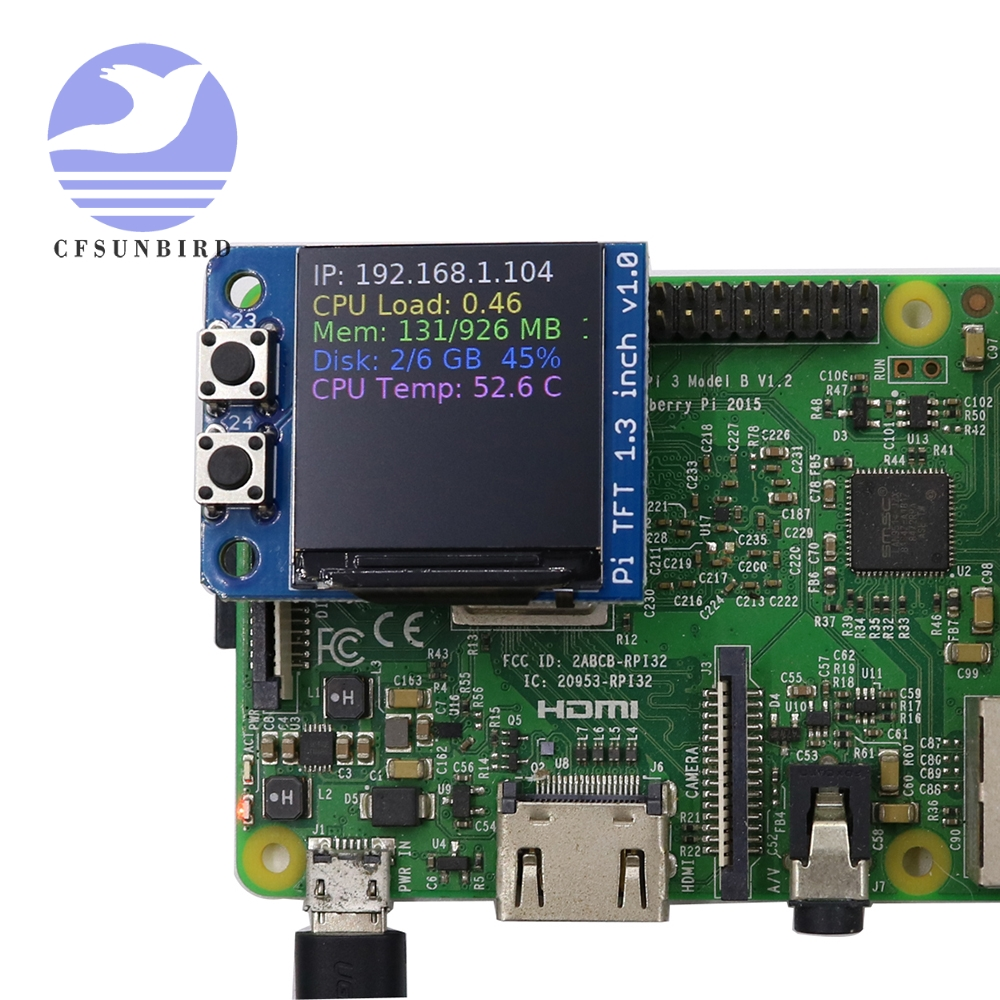 "Mini pi pioled tft 1.3 ""polegadas 240x240 tft add-on oled spi interface para raspberry pi"