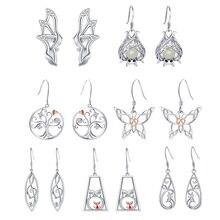 Orecchini settimanale 7 paia/set strolls girl albero in argento Sterling 925 simbolo musicale gufo pipistrello orecchini pendenti animali per gioielli da donna