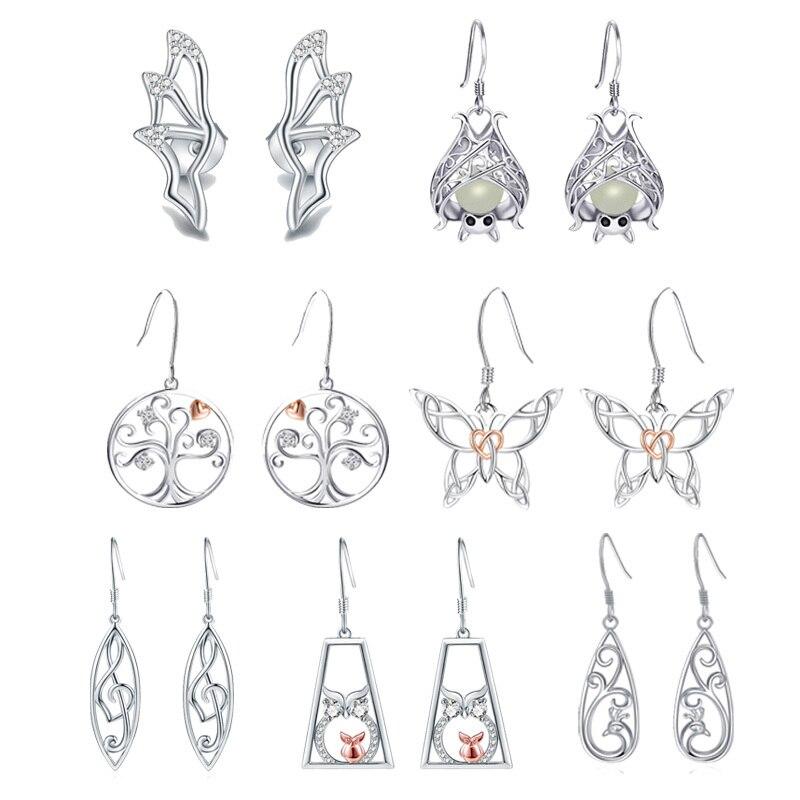 Poussette 7 paires/ensemble hebdomadaire boucles d'oreilles 925 en argent sterling arbre musique symbole hibou chauve-souris animal boucles d'oreilles goutte pour les femmes bijoux