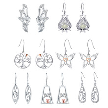 Strollgirl 7 Pairs/set Weekly Earrings 925 Sterling Silver Tree Music Symbol Owl Bat Animal Drop Earrings for Women Jewelry