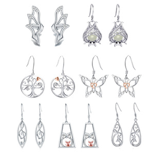 Image 1 - Strollgirl 7 Pairs/set Weekly Earrings 925 Sterling Silver Tree Music Symbol Owl Bat Animal Drop Earrings for Women Jewelry