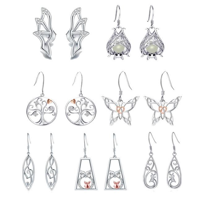 Strollgirl 7 Pairs/set Weekly Earrings 925 Sterling Silver Tree Music Symbol Owl Bat Animal Drop Earrings for Women Jewelry