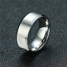 ZORCVENS 2019 New Fashion 8mm Silver Color Men Stainless Steel Wedding Couple Ring Never Fade(China)