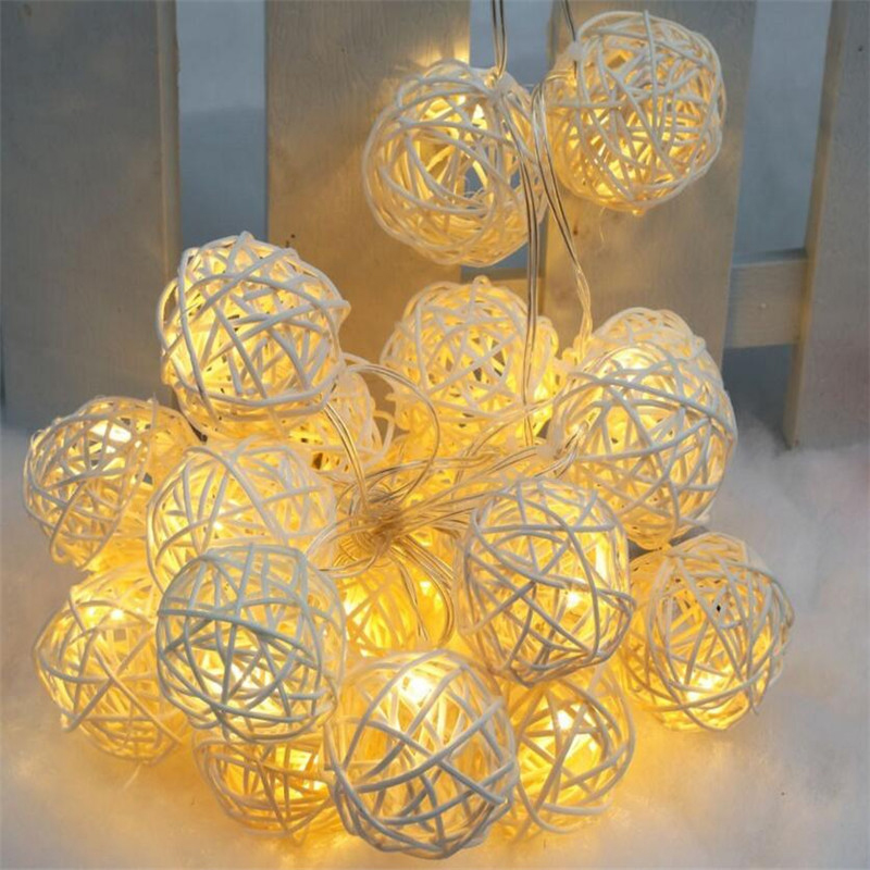 YINUO CANDLE 5M Rattan Balls LED String Light Christmas Fairy Lights Battery Garland Light Home Indoor Wedding Party Decoration in LED String from Lights Lighting