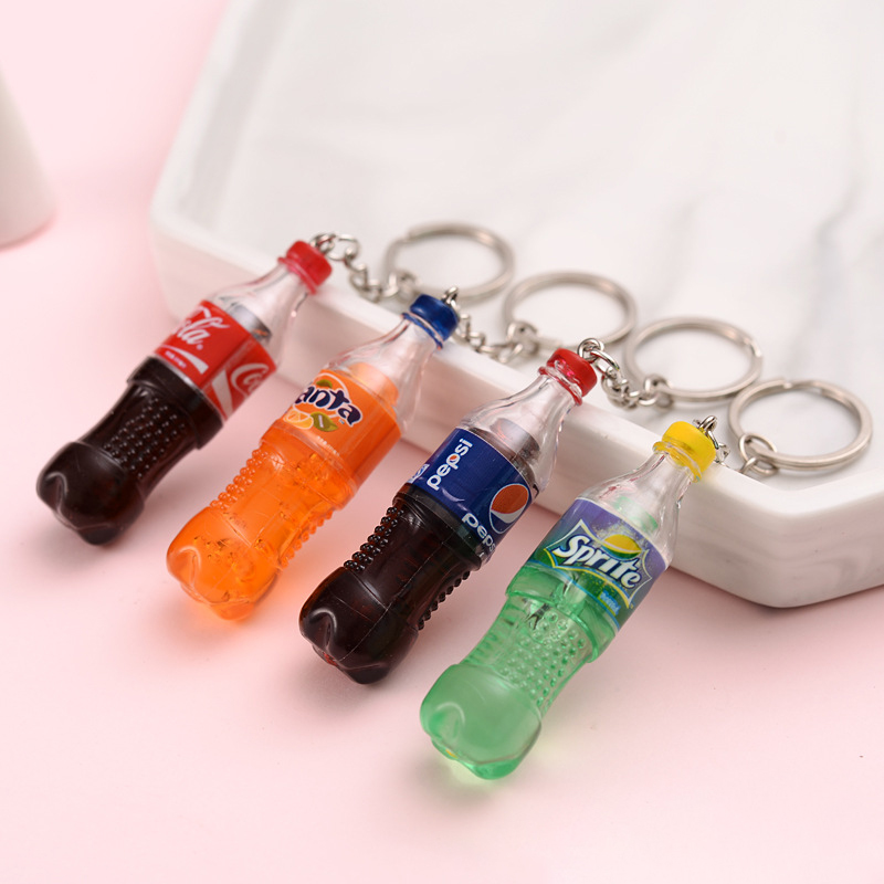 Fashion Creative Resin Drink Bottle Keychain Bag Charm Woman Men Kids Key Ring Gifts Key Holder Pendant Accessories Key Chain