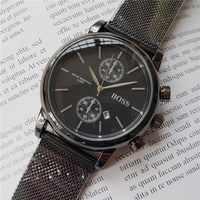 High-quality men BOSS wristwatch 43mm steel Mesh Watches Men's quartz waterproof watch mens designer watches Luxury Mens Watches