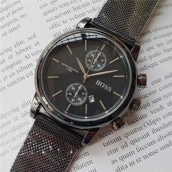 Homens de alta qualidade relógio de pulso PATRÃO 43mm Relógios de Malha De aço relógio de quartzo dos homens à prova d' água mens designer de relógios De Luxo Mens Relógios
