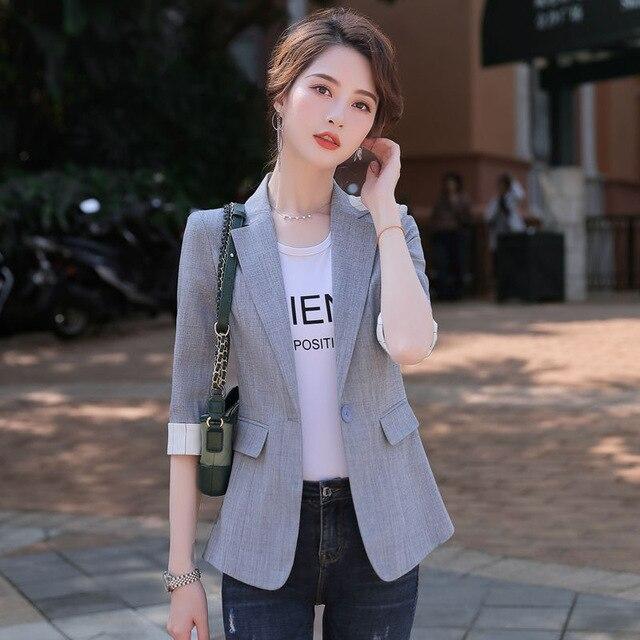 2021 Korean Fashion Women Short Blazers And Jackets Seven Sleeve Outerwear Elegant Ladies Coats Work Wear Black Pink Plus Size 3