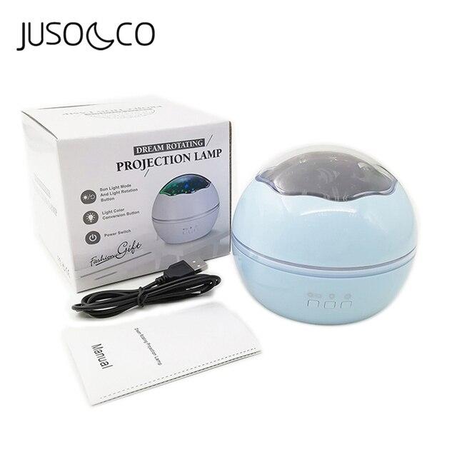 JUSOCCO proyector de luz nocturna giratoria para niños y bebés, lámpara de proyección Led USB romántica para dormir