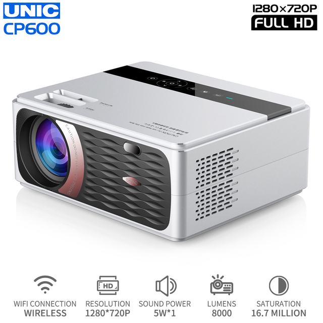 UNIC New CP600 LED 8000 Lumens Projector 4K 1080P Full HD HDMI WIFI LCD Home Theater Movie Beamer Android Proyector 150 Screen