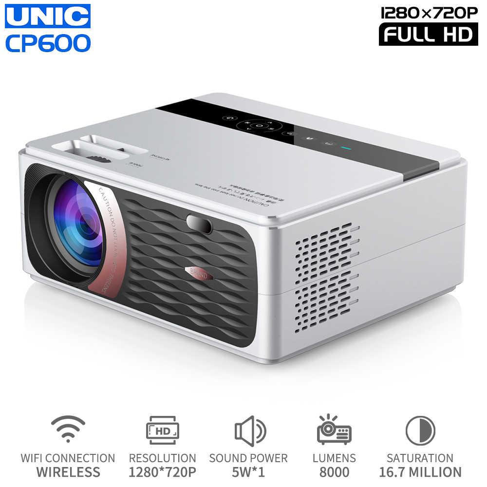 UNIC-Proyector LED CP600, para cine en casa, Proyector de películas en 4K, 8000 P, Full HD, con HDMI, wi-fi, LCD, 1080 lúmenes, pantalla de 150''