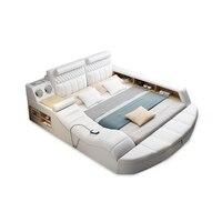 leather bed frame camas bedroom кровать двуспальная lit beds سرير muebles de dormitorio мебель cama massage safe speaker USB