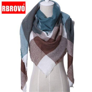 RBROVO 2019 Fashion Winter Scarf Women Luxury Warm Plaid Cashmere Scarves Female Triangle Street Beat Tippet Echarpe Femme Hiver - discount item  10% OFF Scarves & Wraps