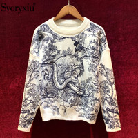 Svoryxiu Designer Forest Animal Embroidery Sweater Pullover Women's Fashion Long Sleeve Autumn Winter Wool Knitting Jumper