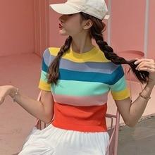 цены Rainbow Striped Turtleneck Short Sleeve Slim Knit Crop Top Women Harajuku Korean Fashion Lolita T Shirt Cute Kawaii Sexy T-Shirt