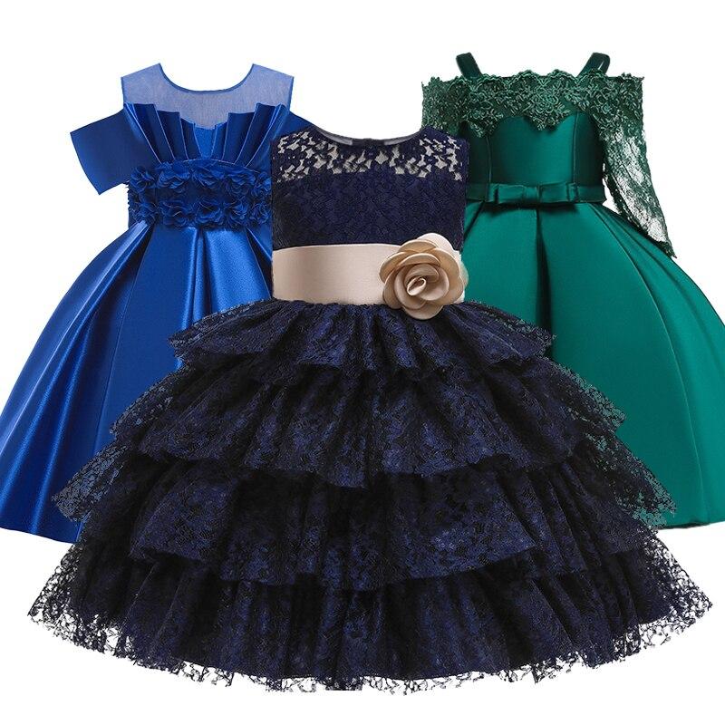 Neue Mädchen Prinzessin geburtstag party bankett schulter strap kleid Blume Mädchen hochzeit spitze hohle hülse party kleid vestidos