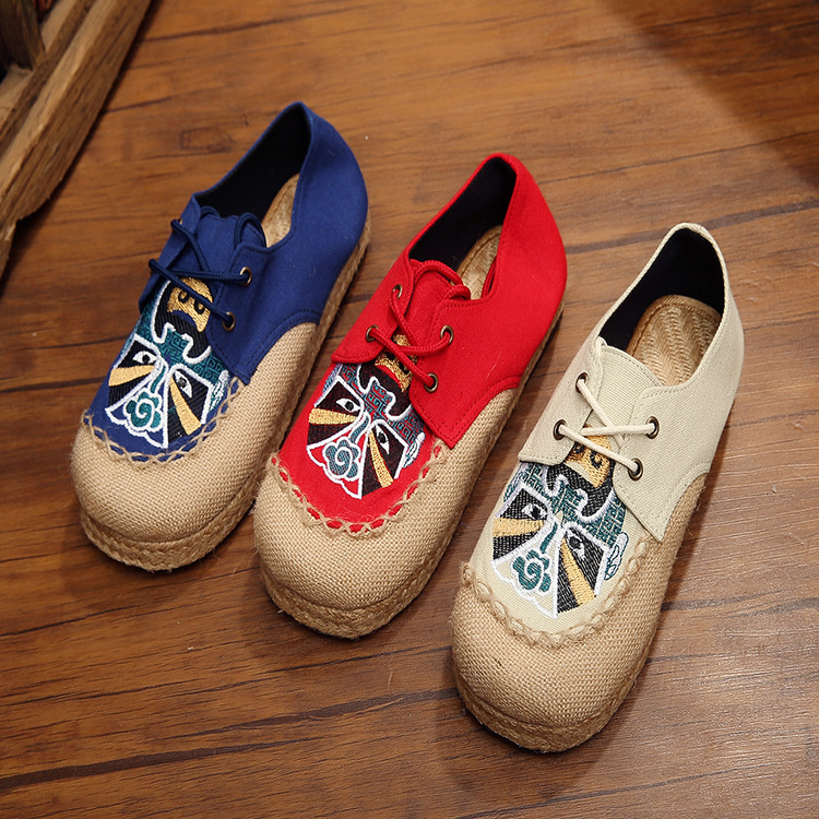 Spring 2019 Canvas womans Single shoes National Style Women 39 s Round Head Thick heeled Face Tide Vulcanize Shoes Yasialiya in Women 39 s Vulcanize Shoes from Shoes