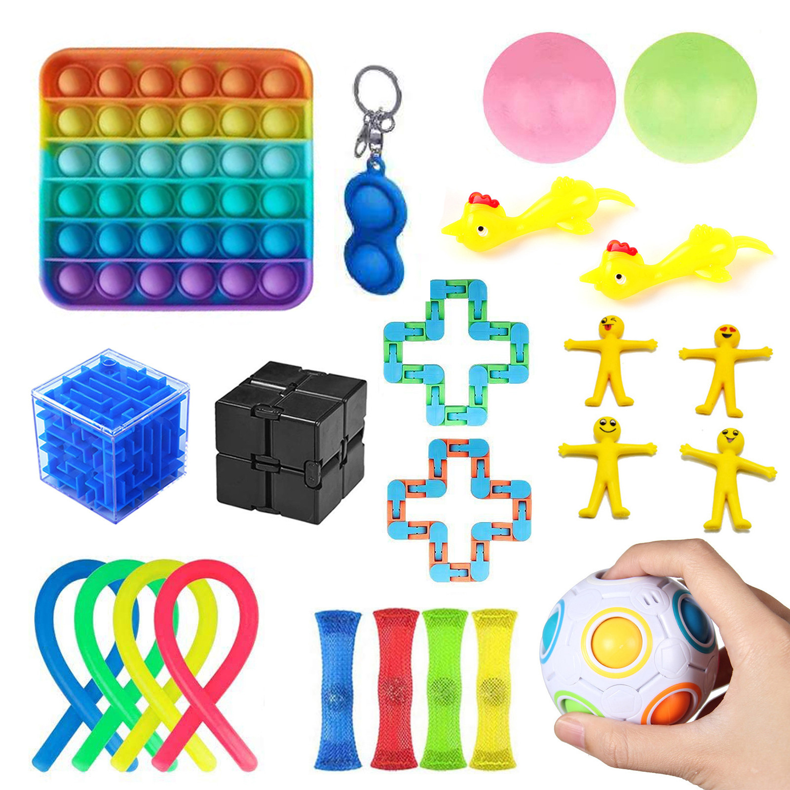 Fidget-Toys-Set Marbles-Ball Relief-Squeeze-Toys Stress Pop Bubble Adults For Kids Autism