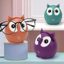1 pçs criativo plástico bonito coruja caixa de música decoração do agregado familiar ornamentos telefone óculos cartão rack armazenamento criança natal presente aniversário aleatório