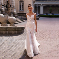 Lace White Mermaid Wedding Dresses With Cape Sexy Backless Bridal Gowns Boho wedding dress 2020 Vestidos De Soiree