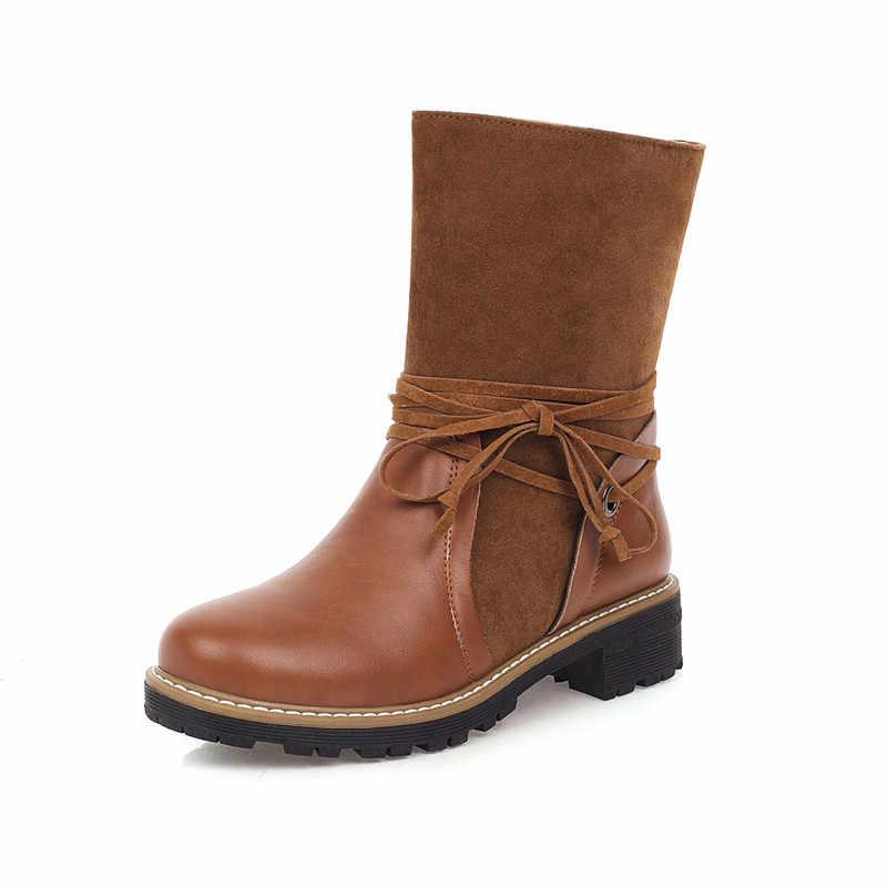 ASUMER 2020 yeni yarım çizmeler kadın pu akın sonbahar kış kısa çizmeler rahat alçak topuklu rahat ayakkabılar kadın büyük boy 43
