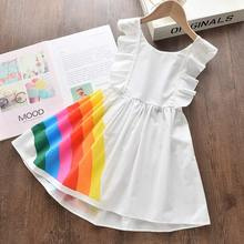 Girls Party Dress New Summer Kids Cute Rainbow Dresses Girls Fashion Costumes Children Clothing Baby Vestidos 3 7Y girl elegant party dress new summer kids tiered mesh dress sweet solid costumes princess suit children clothing 3 7y