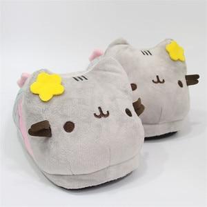 Image 3 - Suihyung נשים חורף מקורה נעלי בית נעלי בית בפלאש ממולא פרח חתול כותנה דירות גבירותיי קריקטורה בת ים חם מצחיק להחליק על
