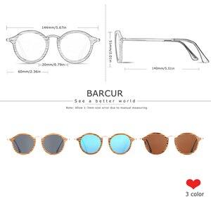 Image 3 - BARCUR زيبرا نظارة شمسية خشبية اليدوية نظارات شمسية مستديرة الرجال الاستقطاب النظارات مع صندوق الحرة